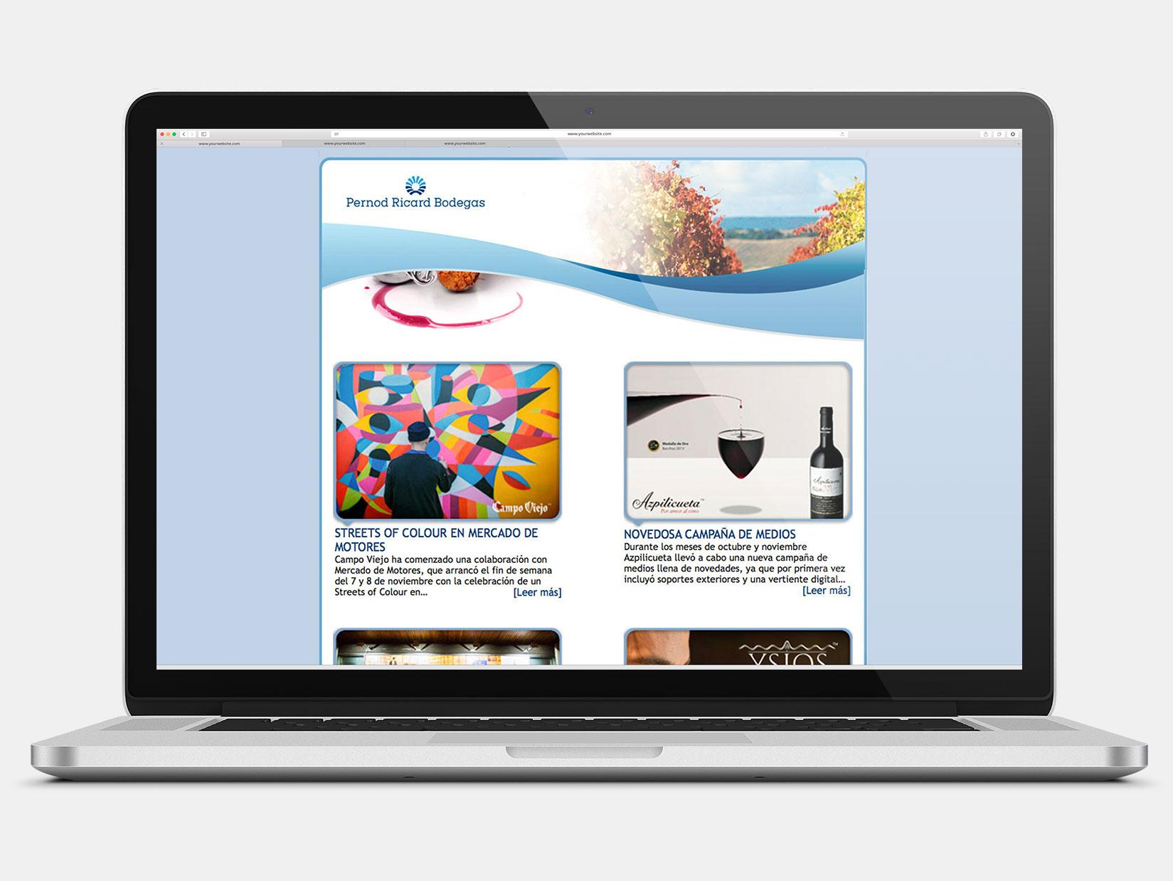 Desarrollo Web: nresletter de Domecq Bodegas para Trade, Comerciales y personal interno.