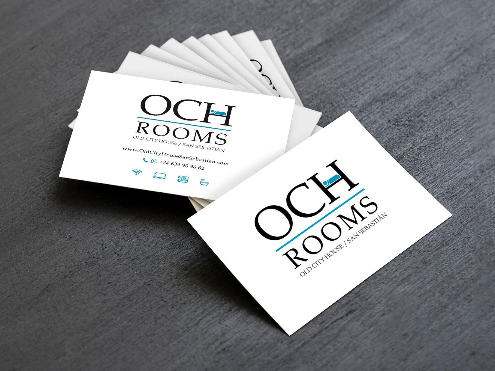 Diseño Logo: creación logotipo para OCH Rooms / Old City House San Sebastián. Impresión: placas en metacrilato.