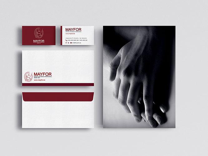 Diseño gráfico e impresión de carteles, vinilos, folletos, tarjetas, sobres para Mayfor Donostia.