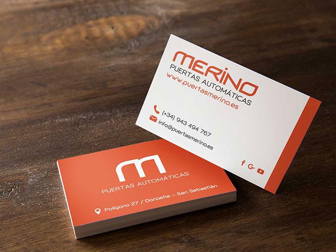 Diseño Gráfico e Impresión para Puertas Merino: diseño de tarjetas, carteles, vinilos cristales, folletos, sobres, pegatinas, rotulación vehículos.