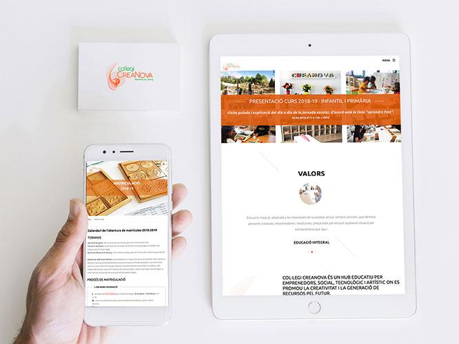 Desarrollo web para Col·legi CreaNova. SEO, alojamiento, Redes Sociales.