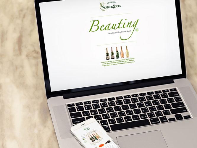 """Desarrollo Web: sitio web responsive para el Champagne Perrier Jouët de Pernod Ricard. Proyecto """"Beauting"""": web-aplicación para el maridaje de Champgne e ingredientes; listado restaurantes; recetas.Plataforma utilizada: eZpublish."""