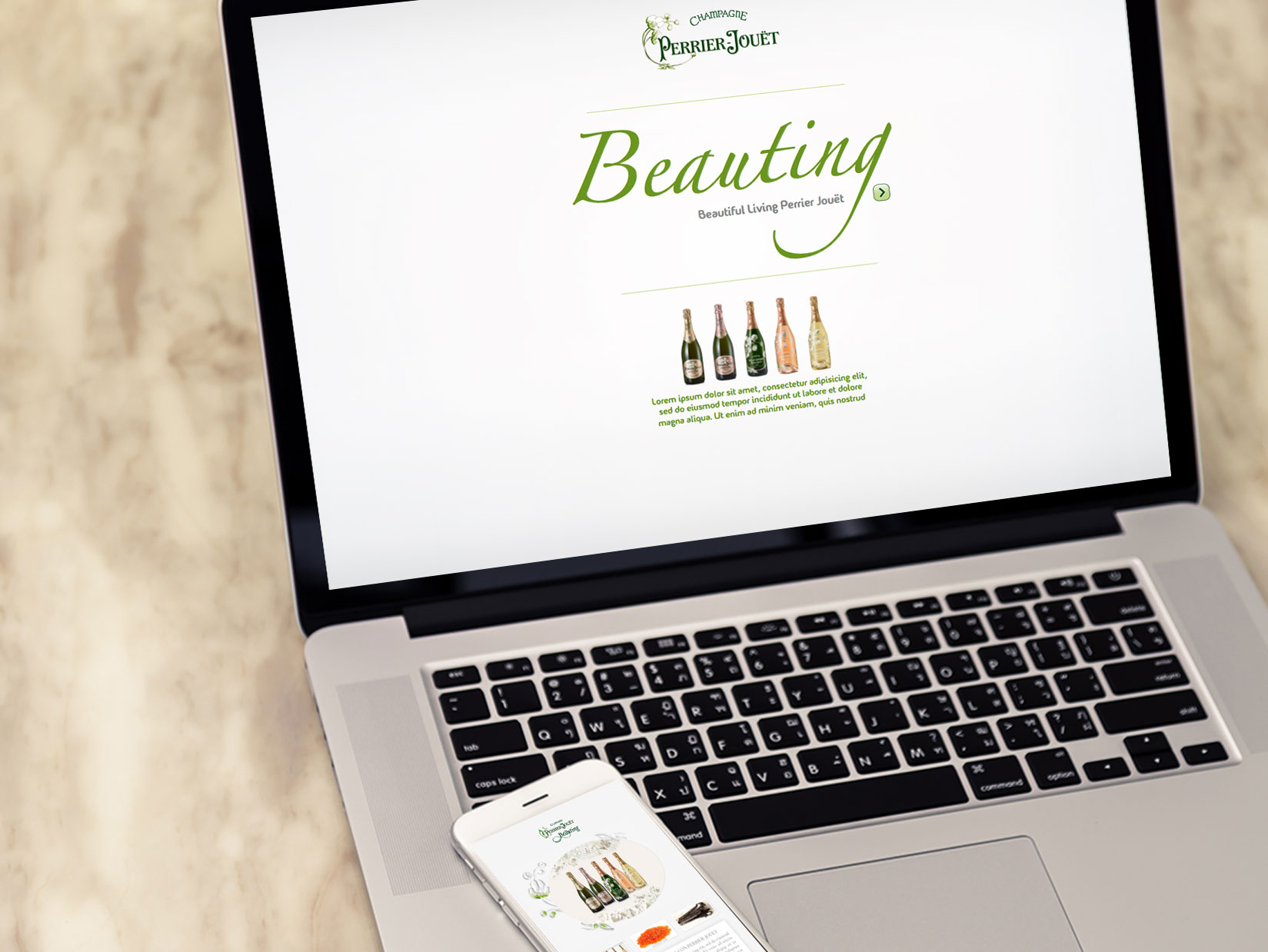 Desarrollo Web: sitio web responsive para el Champagne Perrier Jouët de Pernod Ricard. Proyecto