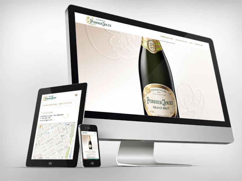 Desarrollo Web: sitio web responsive para el Champagne Perrier Jouët de Pernod Ricard. Champagne, sponsor, locales.