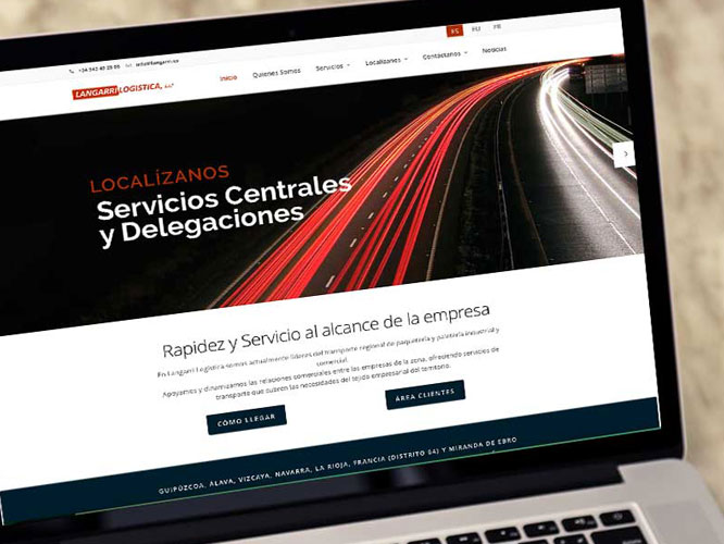 Desarrollo web responsive para Langarri Logística. Alojamiento.