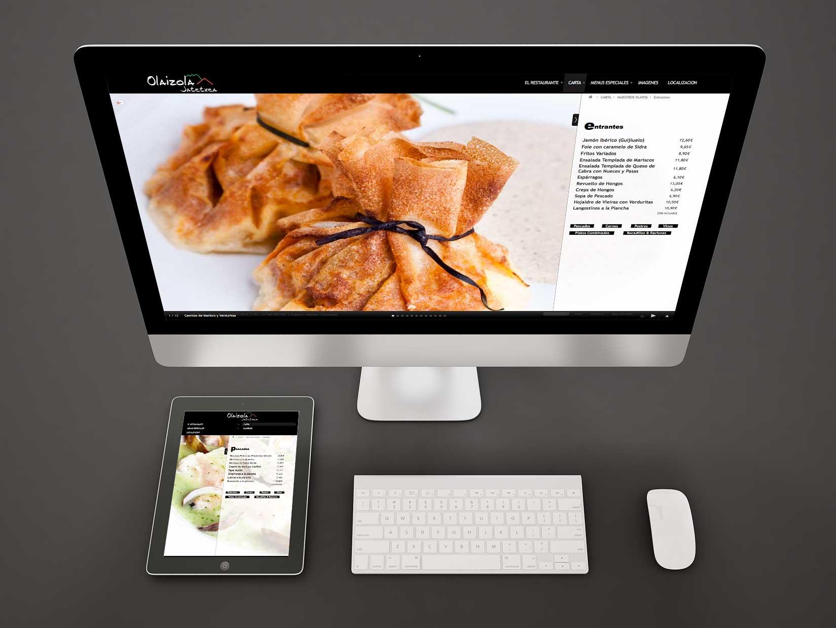 Desarrollo web para Olaizola Jatetxea. Alojamiento, Photo session.