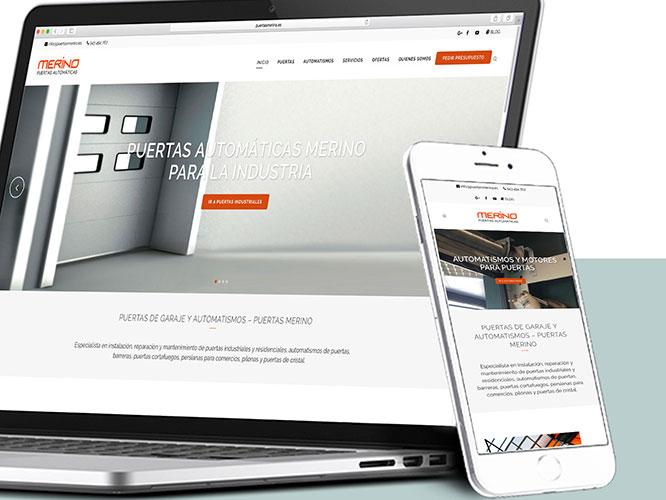 Desarrollo web para Puertas Merino. SEO, SEM, alojamiento, Redes Sociales.
