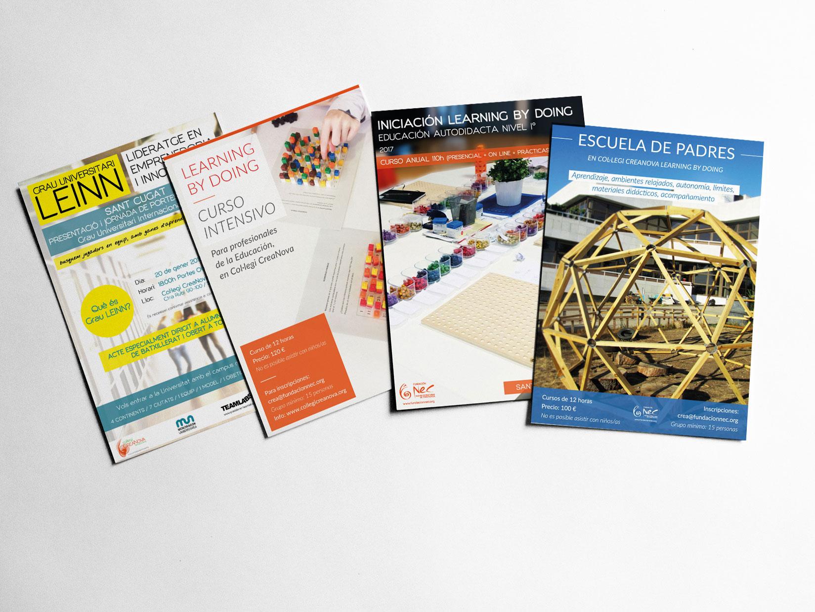 Diseño gráfico: diseño de carteles, tarjetas, folletos, lonas para los eventos del Col·legi CreaNova. Impresión: impresión de carteles, folletos, lonas en vinilo, tarjetas.