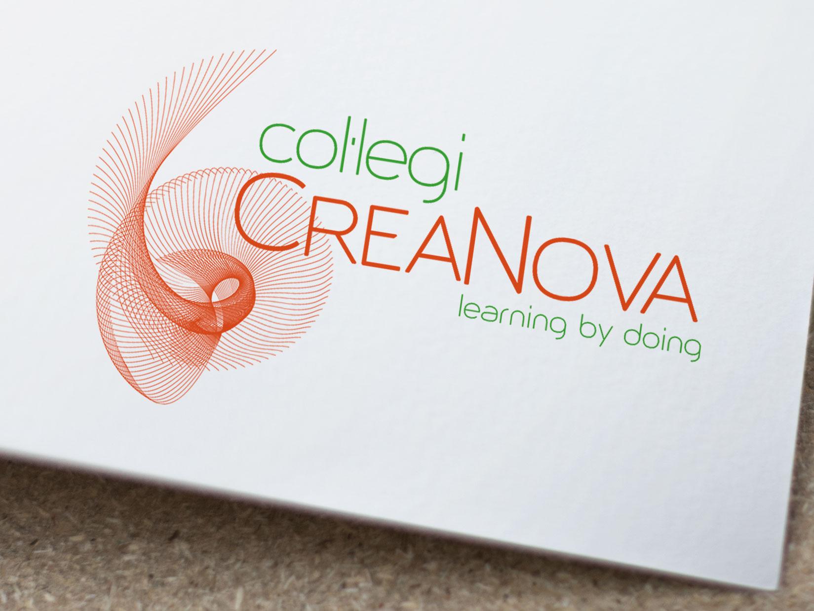 Diseño Logo: creación logotipo para el Col·legi CreaNova, utilizando un dibujo vectorial fractal. Manual de Identidad Corporativa.