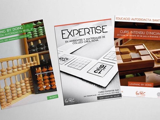 Diseño logo: diseño del nuevo logo de Fundación NEC y creación del logo de sus proyectos educativos.Diseño gráfico e Impresión: diseño de carteles, tarjetas, folletos.