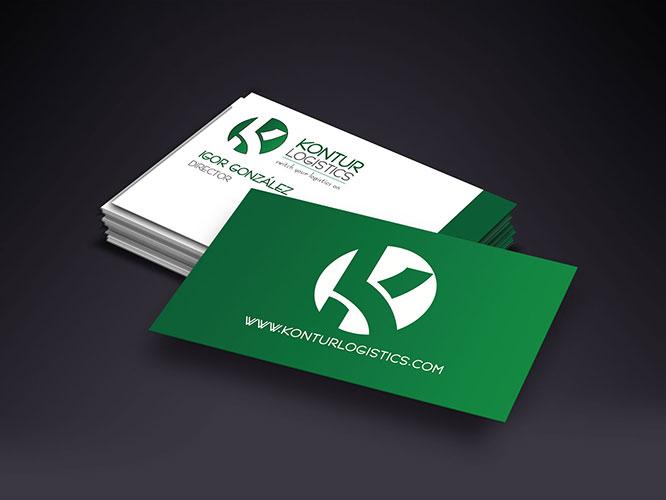 Diseño logo: creación del logo para Kontur Logistics.Diseño Gráfico e Impresión: tarjetas, papelería de empresa.